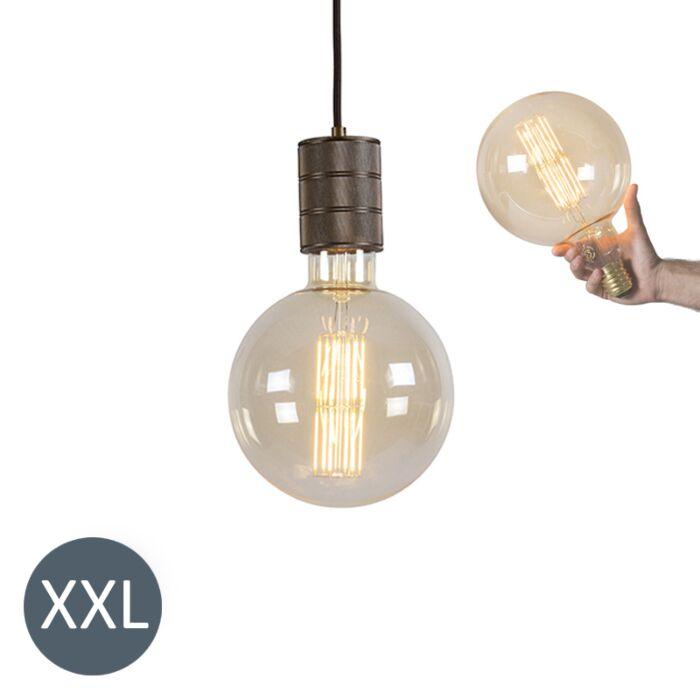 Lâmpada-suspensa-Megaglobe-de-bronze-com-lâmpada-LED-regulável