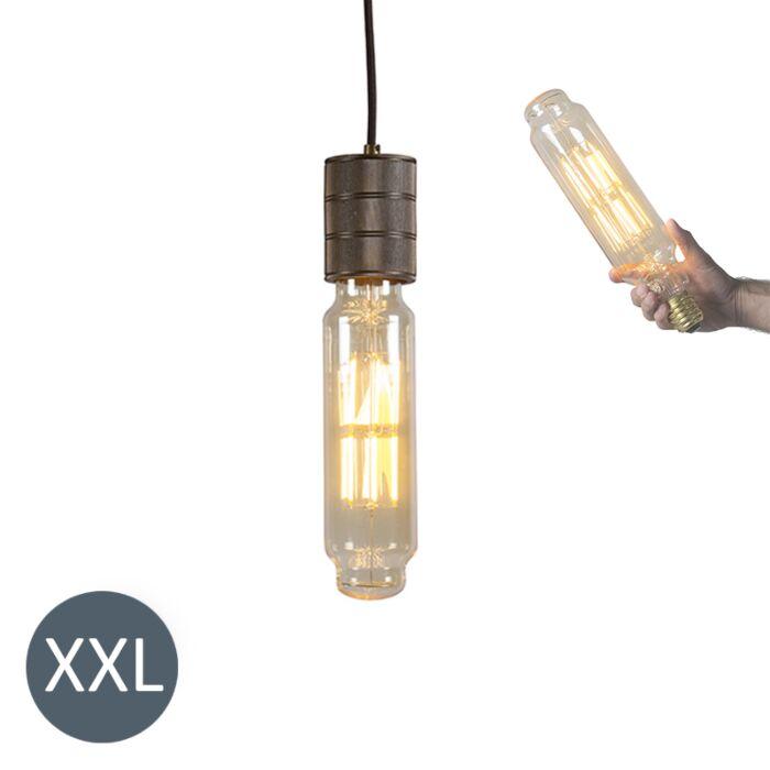 Lâmpada-suspensa-Torre-de-bronze-com-lâmpada-LED-regulável