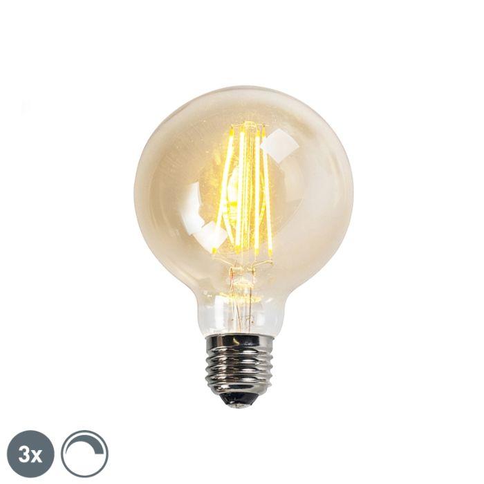 Conjunto-de-3-lâmpadas-LED-com-filamento-regulável-E27-goldline-G95-5W-450LM-2200K