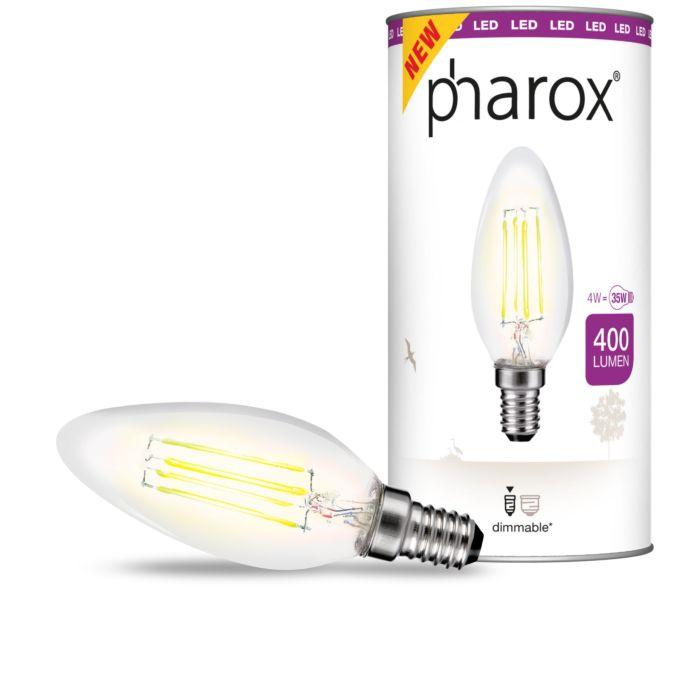 Candeeiro-de-vela-LED-Pharox-transparente-E14-4W-400-lumens