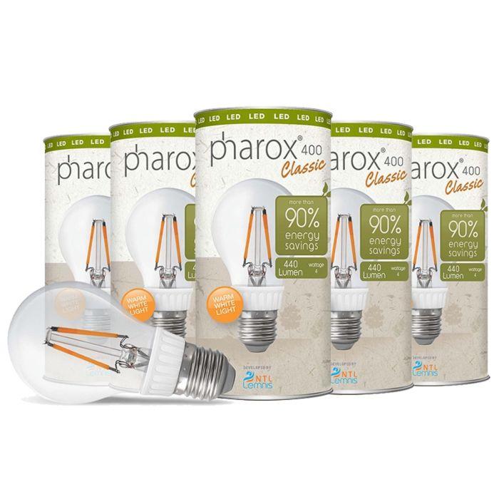 Lâmpada-Pharox-LED-400-Classic-E27-4W-conjunto-de-5