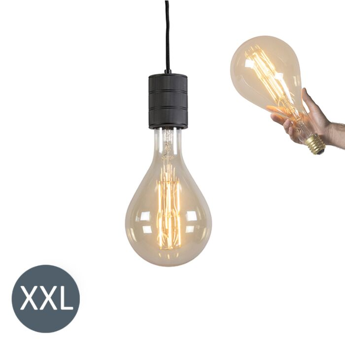Lâmpada-suspensa-Splash-preta-com-lâmpada-LED-regulável