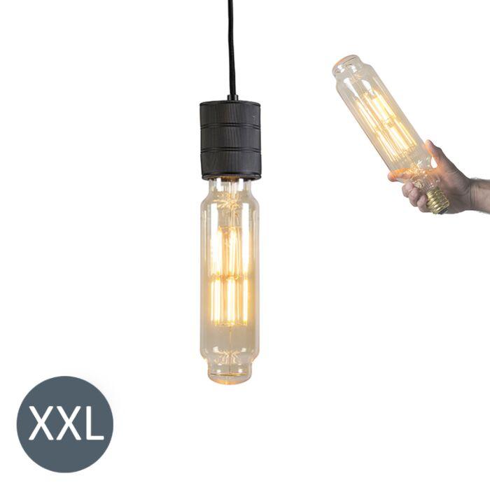 Lâmpada-suspensa-Torre-preta-com-lâmpada-LED-regulável
