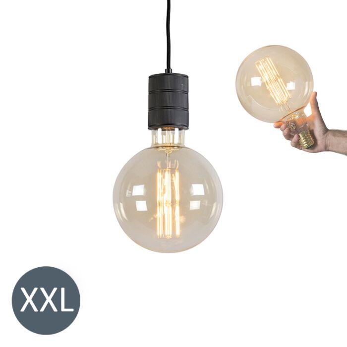 Lâmpada-suspensa-Megaglobe-preto-com-lâmpada-LED-regulável
