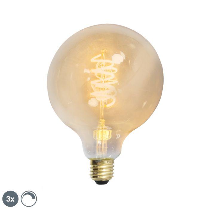 Conjunto-de-3-lâmpadas-filamentos-trançados-LED-E27-reguláveis-G125-goldline