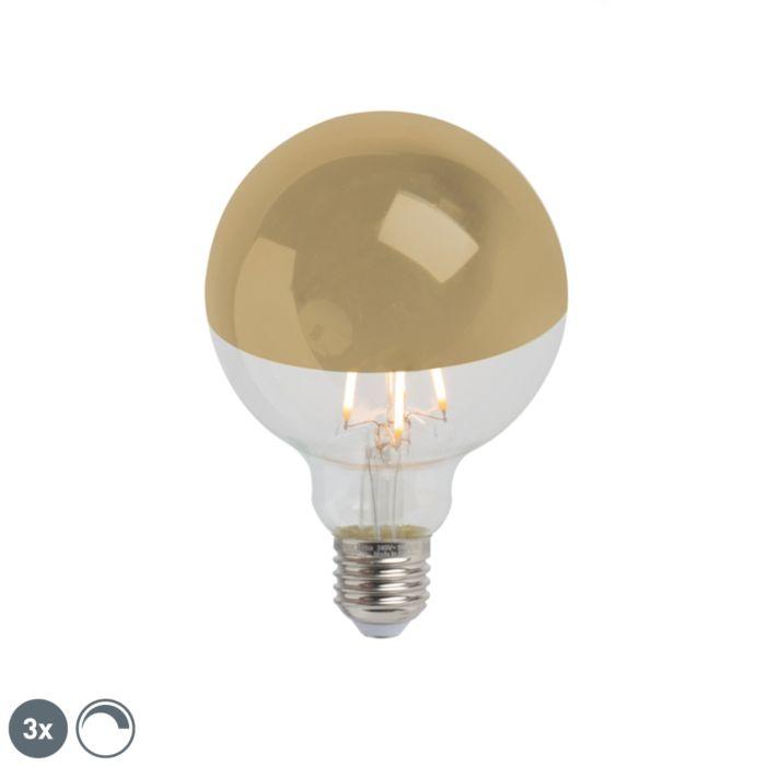 Conjunto-de-3-lâmpadas-semi-espelhos-LED-reguláveis-E27-G95-ouro-280lm-2300K
