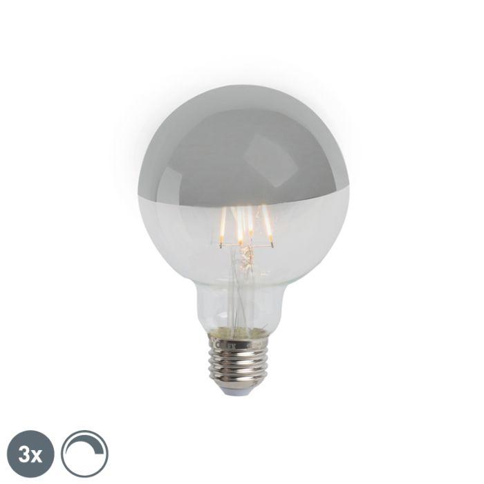 Conjunto-de-3-lâmpadas-meio-espelho-LED-regulável-E27-G95-prata-280lm-2300K