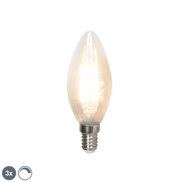 Conjunto-de-3-lâmpadas-de-vela-de-filamento-LED-E14-240V-3,5W-350lm-B35-regulável