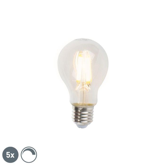 Conjunto-de-5-lâmpadas-de-filamento-LED-reguláveis-E27-A60-7W-806lm-2700K