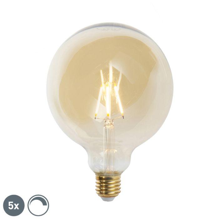 Conjunto-de-5-lâmpadas-de-filamento-LED-reguláveis-E27-G125-goldline-2200K