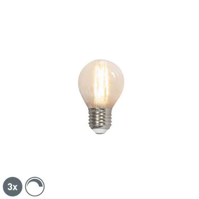 Conjunto-de-3-lâmpadas-esféricas-de-filamento-de-LED-E27-240V-3,5W-350lm-P45-regulável
