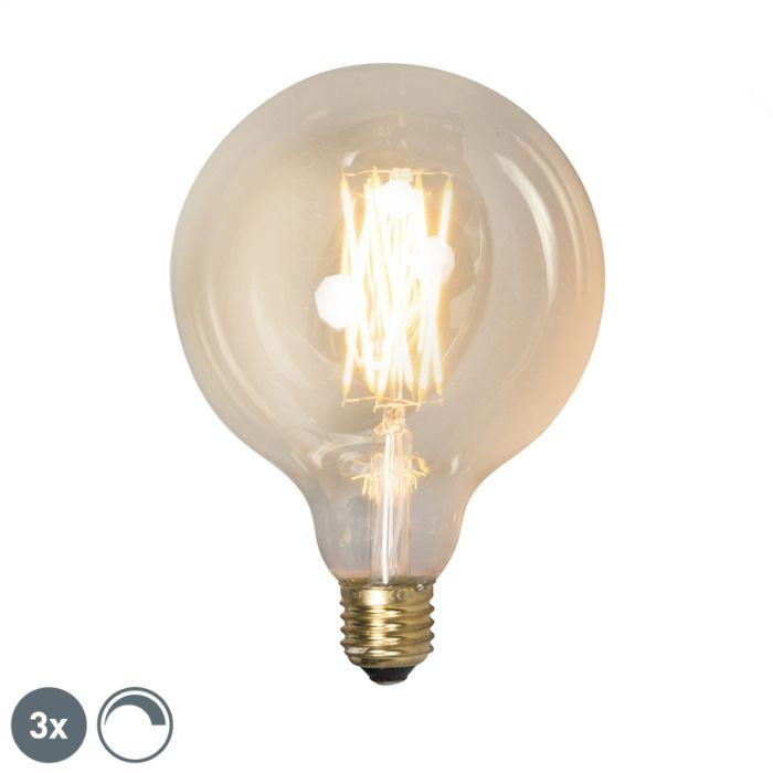 Conjunto-de-3-lâmpadas-LED-reguláveis-E27-G125-goldline-320lm-2100-K.