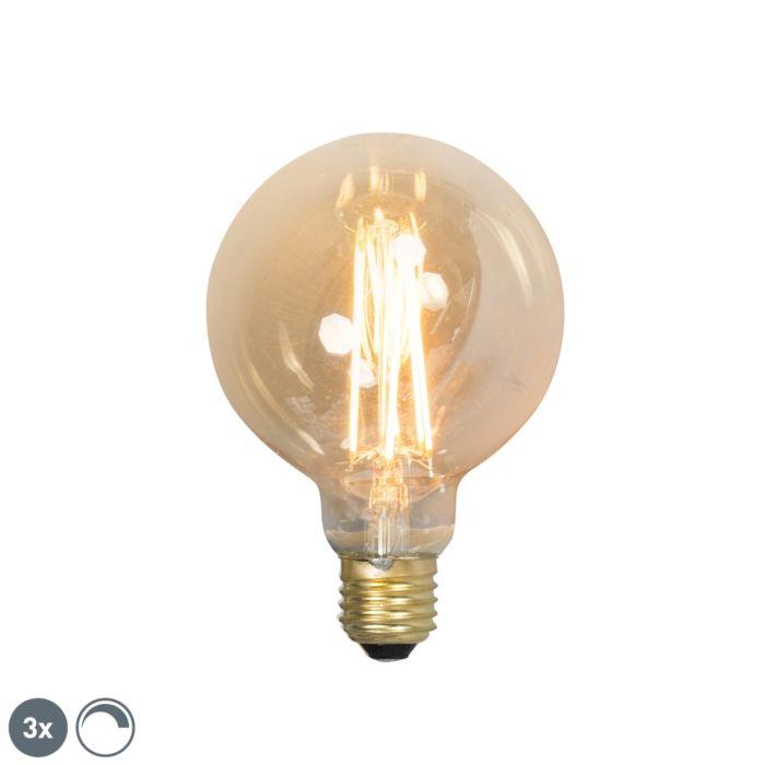 Conjunto-de-3-lâmpadas-LED-de-filamento-regulável-E27-G95-goldline-2100K