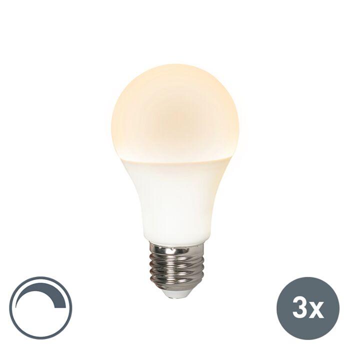 Conjunto-de-3-lâmpadas-LED-E27-240V-10W-810lm-A60-regulável