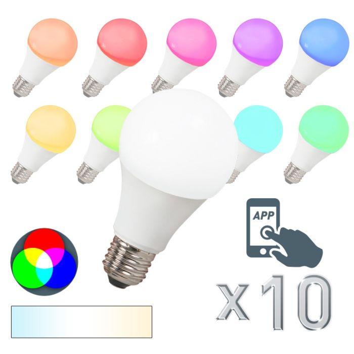 Conjunto-de-10-lâmpadas-LED-E27-240V-7W-500lm-A60-Smart-Light