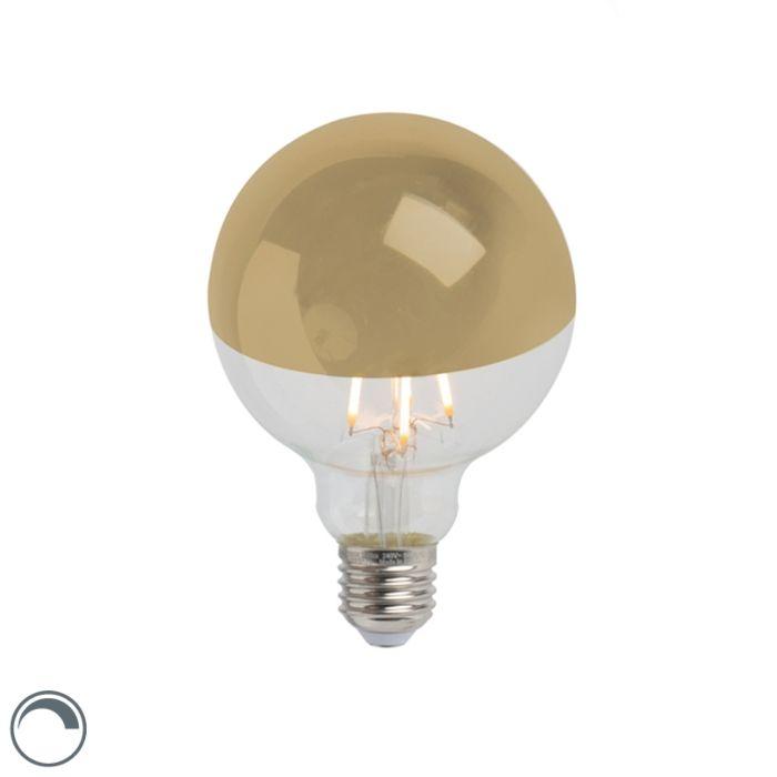 Lâmpada-de-filamento-LED-espelho-principal-ouro-E27-240V-4W-280lm-2300K-G95-regulável