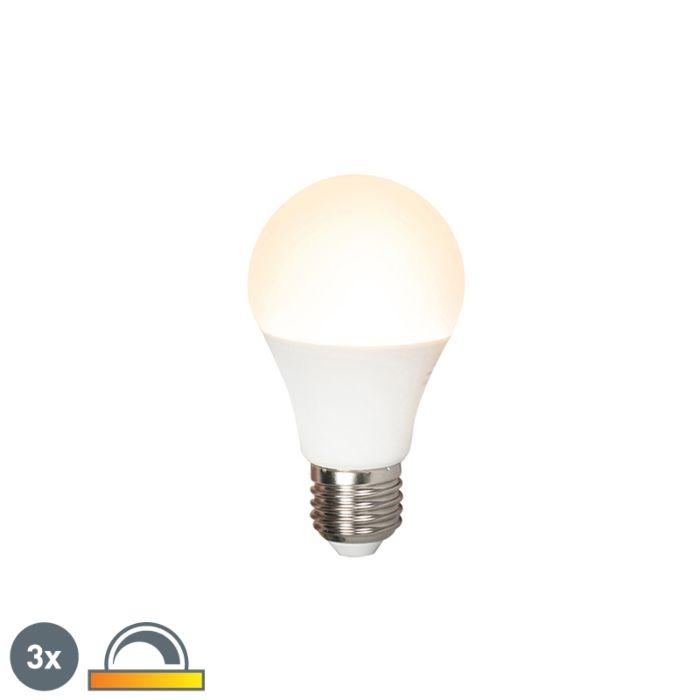 Conjunto-de-3-lâmpadas-LED-E27-240V-7W-510lm-A60-regulável