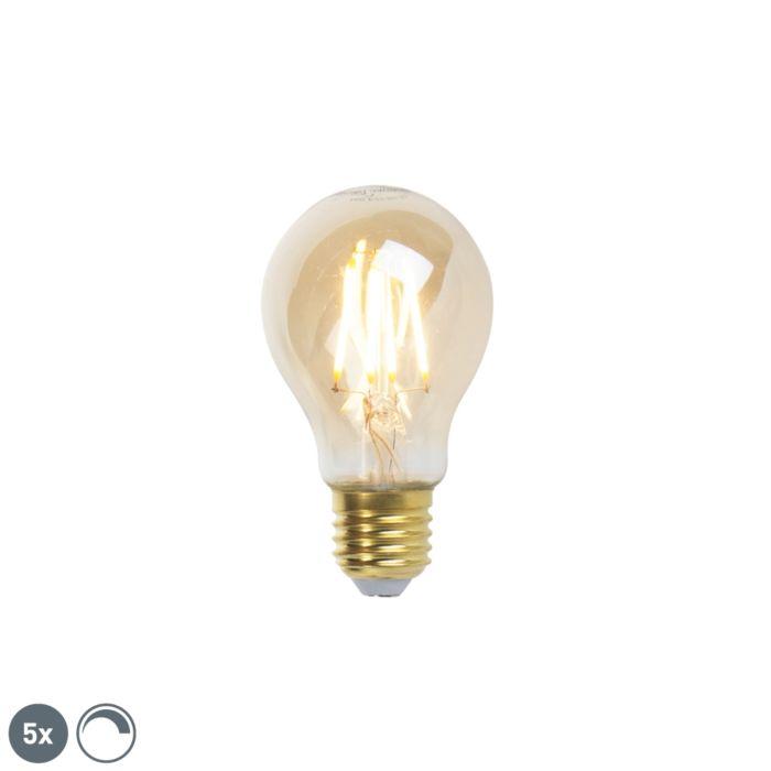 Conjunto-de-5-lâmpadas-LED-de-filamento-regulável-E27-goldline-360lm-2200K