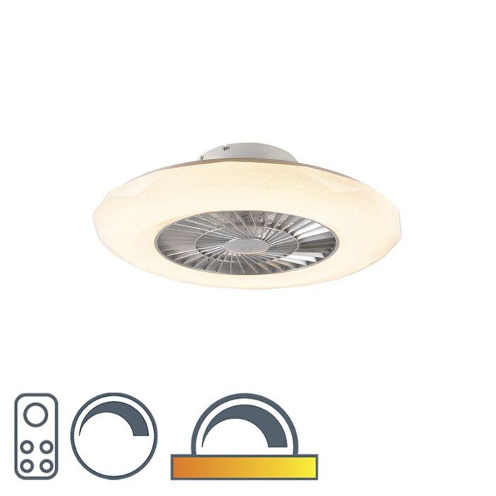 Ventilador-de-teto-prateado-efeito-estrela-regulável-LED---CLIMA