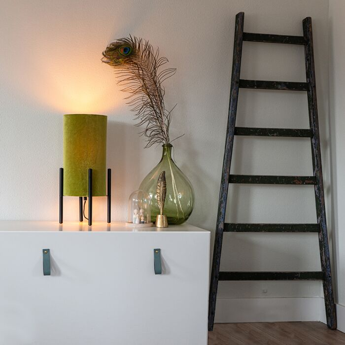 Candeeiro-de-mesa-design-abajur-veludo-verde/ouro---RICH