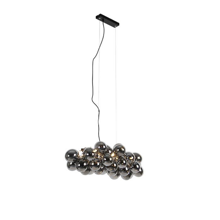 Candeeiro-de-suspensão-de-design-preto-com-vidro-fumê-8-luzes---Uvas