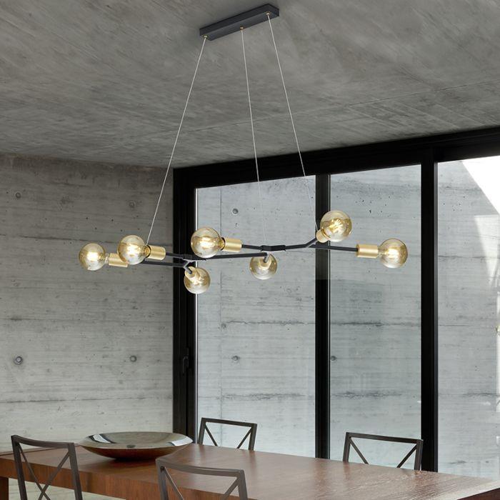 Candeeiro-suspenso-design-preto-7-luzes-douradas---DIRK