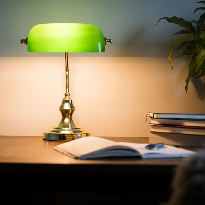 Candeeiro-de-mesa-/-candeeiro-notário-clássico-em-latão-com-vidro-verde---Banqueiro