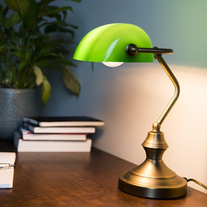 Candeeiro-de-mesa-clássico-/-candeeiro-de-notário-bronze-com-vidro-verde---Banqueiro