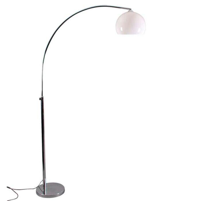 Pequena-lâmpada-de-arco-cromado-com-abajur-branco