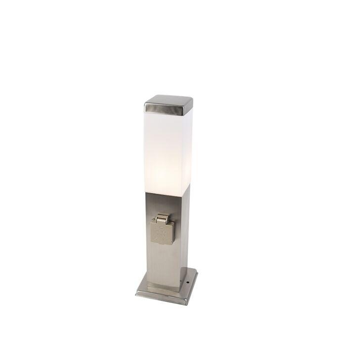 Candeeiro-de-exterior-moderno-45-cm-aço-com-tomada-IP44---Malios
