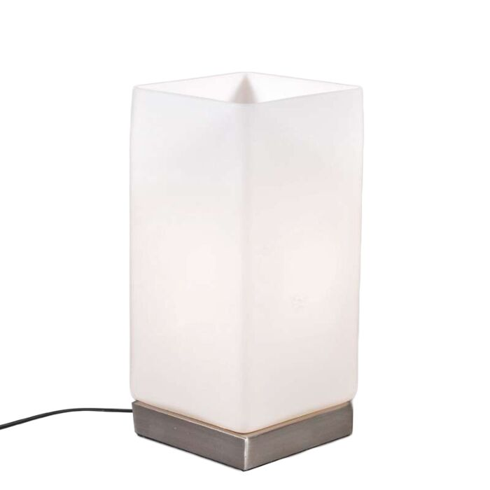 Candeeiro-de-mesa-Bateria-de-aço-com-vidro-branco