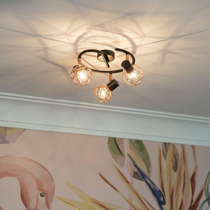 Spot-moderno-preto-com-cobre-3-light---Malha