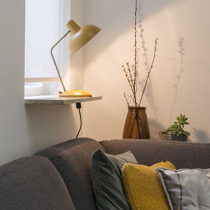 Candeeiro-de-mesa-retro-amarelo-com-bronze---Milou