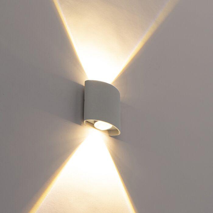 Candeeiro-de-parede-de-exterior-design-prateado-com-2-luzes-LED---Silly