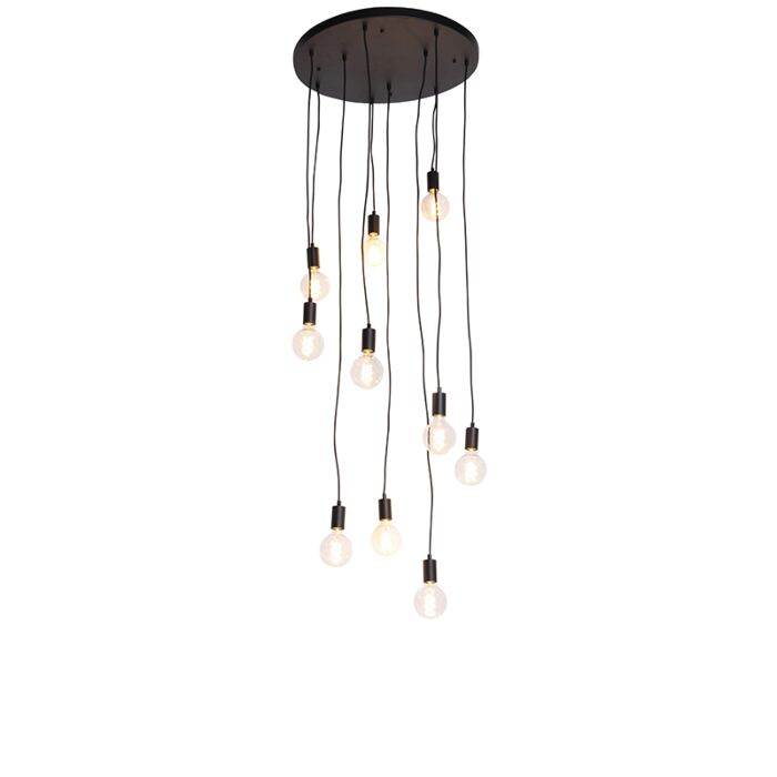 Candeeiro-de-suspensão-moderno-preto-60-cm-10-luzes---Facil