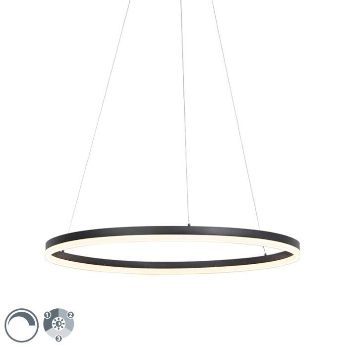 Candeeiro-suspensão-design-preto-80cm-potenciómetro-3-estados-LED---ANELLO-