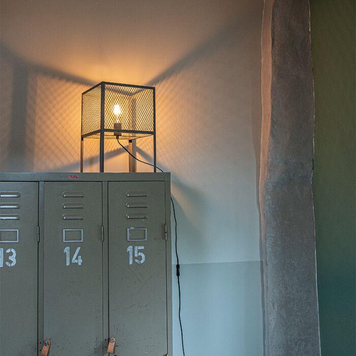 Abajur-industrial-de-prata-antiga---Cage-Robusto