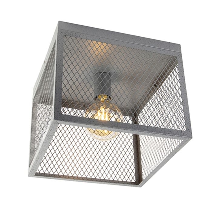 Luminária-de-teto-industrial-prata-antiga---Cage-Robusto