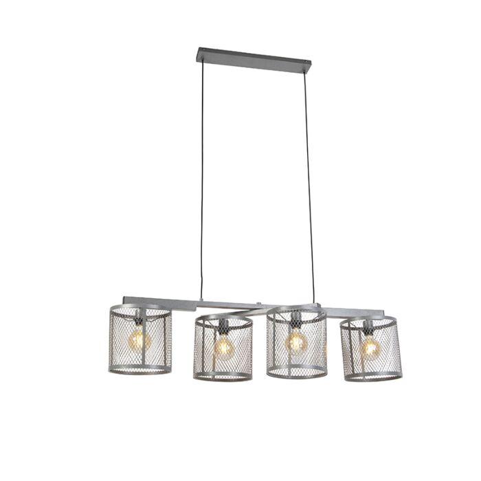 Candeeiro-de-suspensão-industrial-antigo-prata-4-luzes---Cage-Robusto